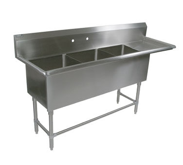 John Boos 43PB204-1D30R sink, (3) three compartment