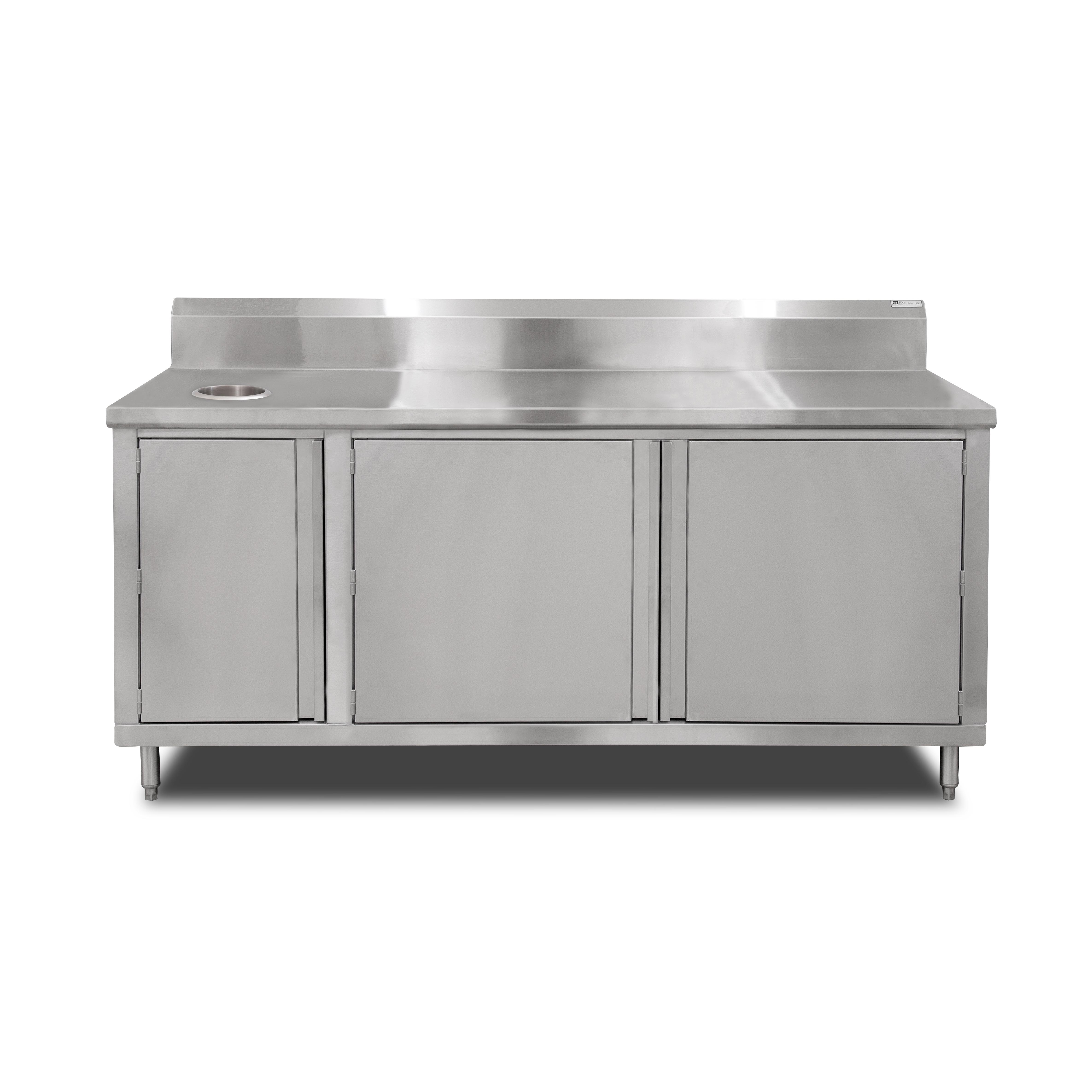 John Boos 4BU4R5-3660-L work table, cabinet base hinged doors