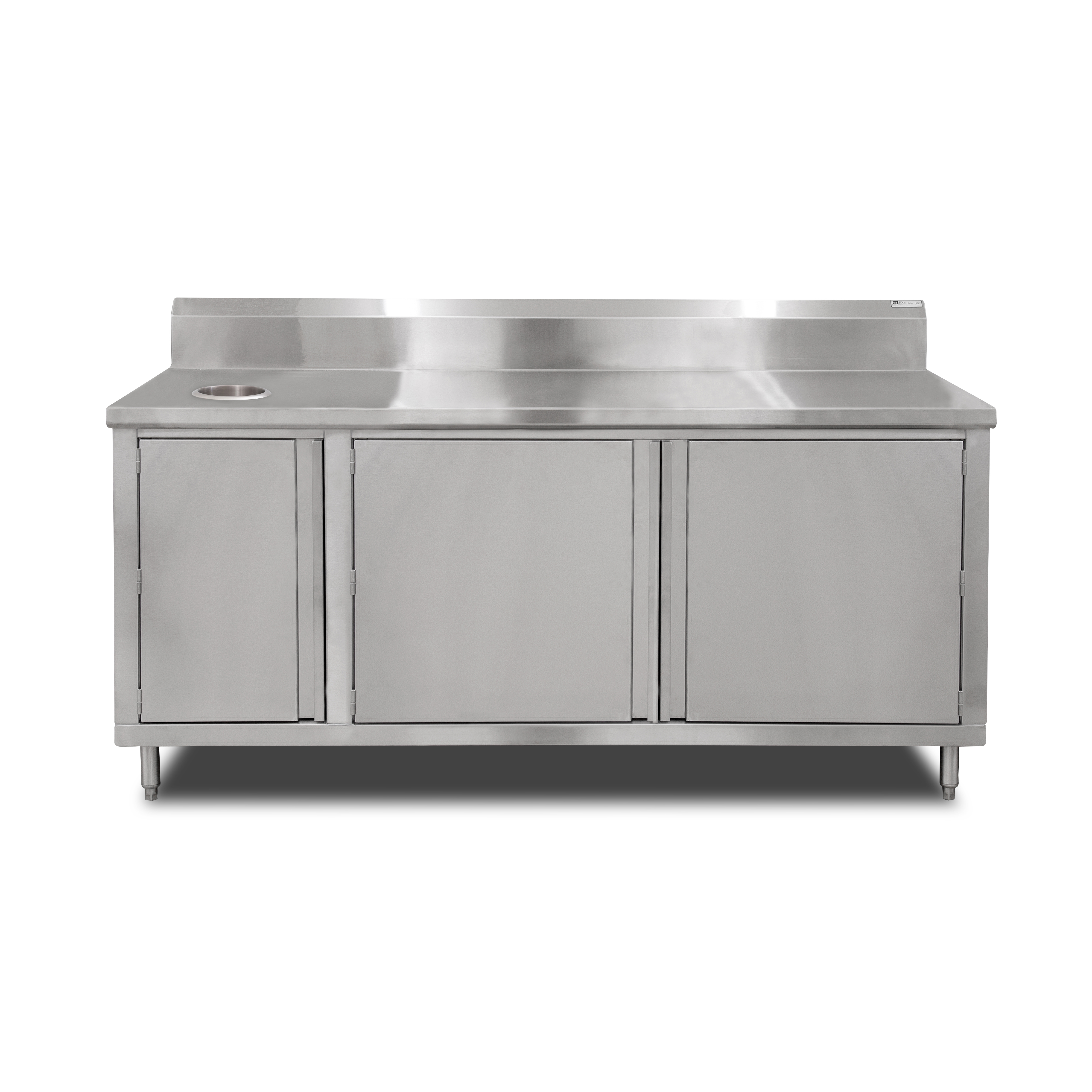John Boos 4BU4R5-3672-L work table, cabinet base hinged doors
