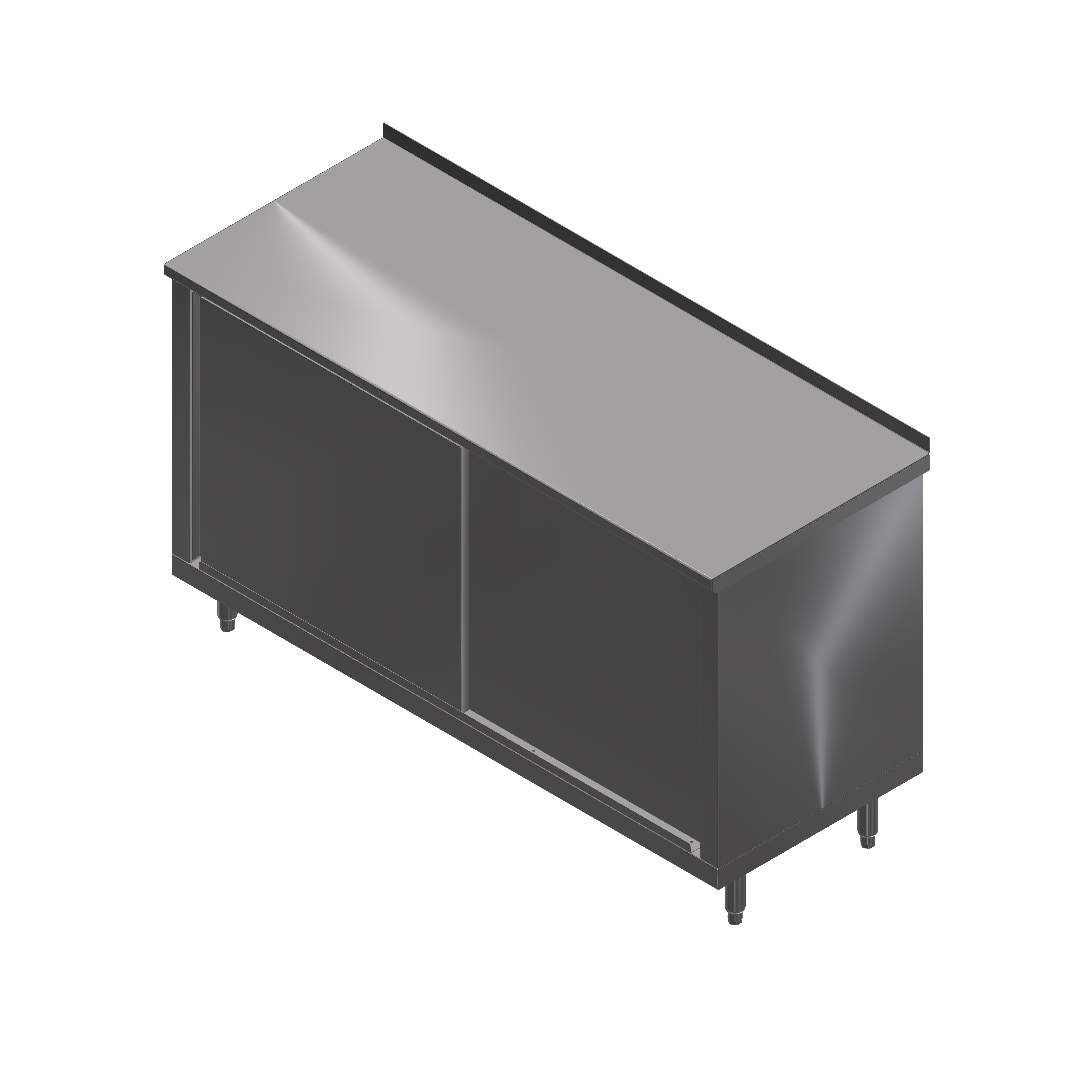 John Boos 4CS4R1.5-3660 work table, cabinet base sliding doors