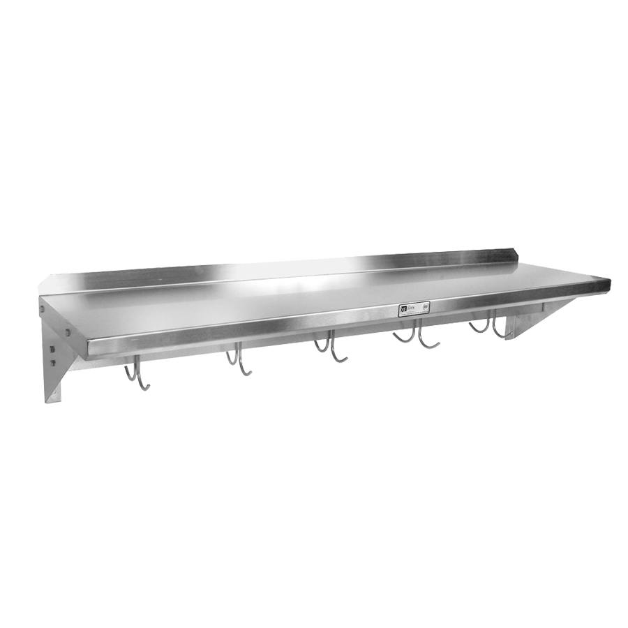 John Boos BHS12120PR-14/304 overshelf, wall-mounted with pot rack