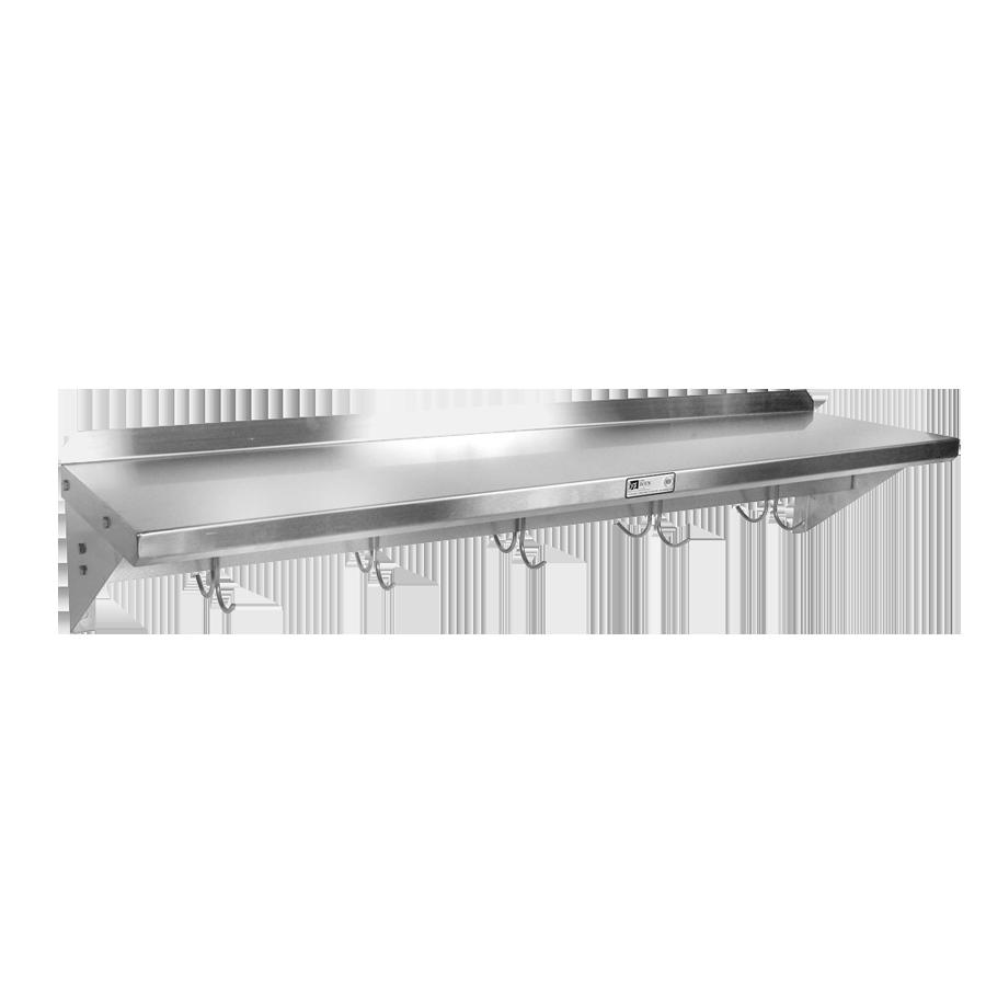 John Boos BHS1272PR-16/304 overshelf, wall-mounted with pot rack