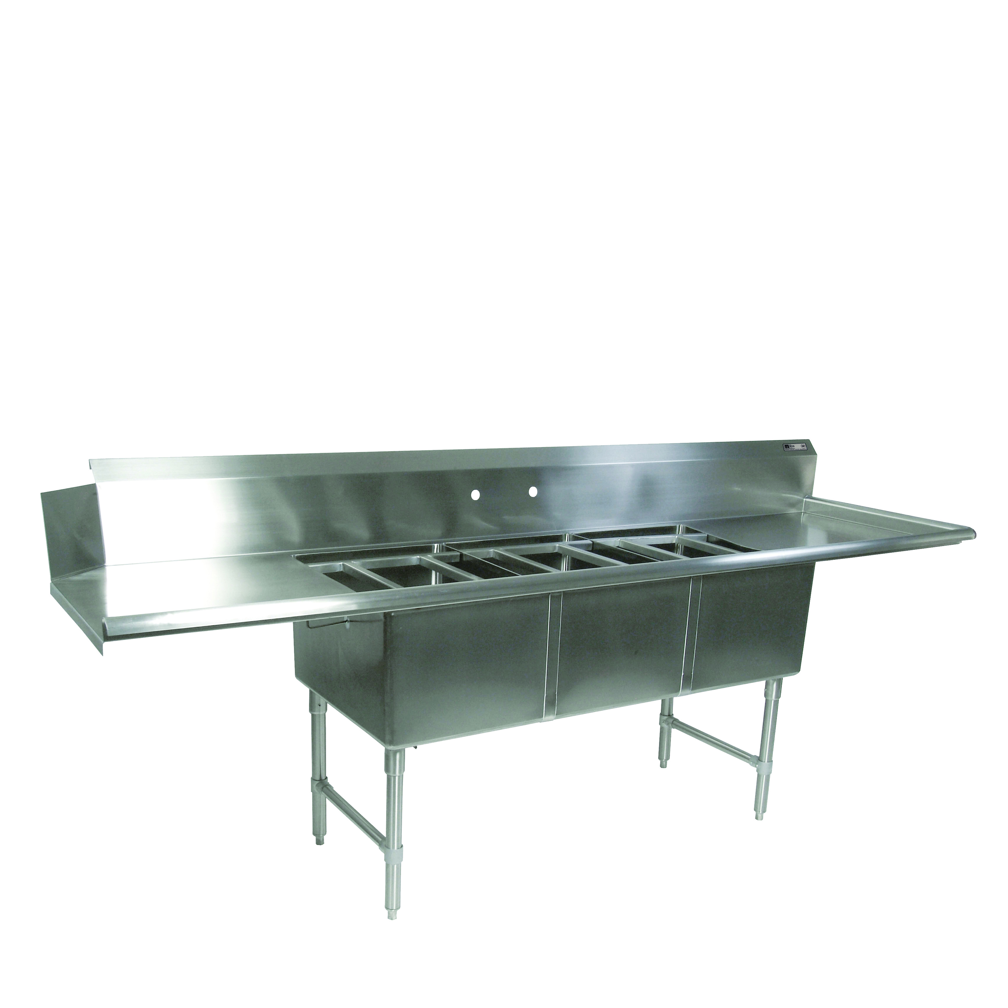 John Boos DT3PB244-2D24R dishtable, with potsinks