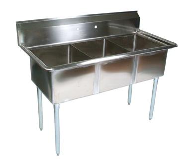 John Boos E3S8-1620-12 sink, (3) three compartment