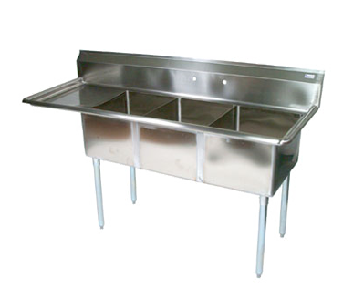 John Boos E3S8-18-12L18 sink, (3) three compartment
