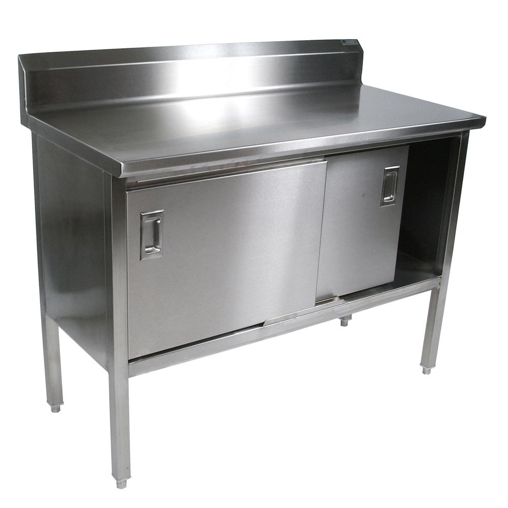 John Boos EBSS4R5-24108 work table, cabinet base sliding doors