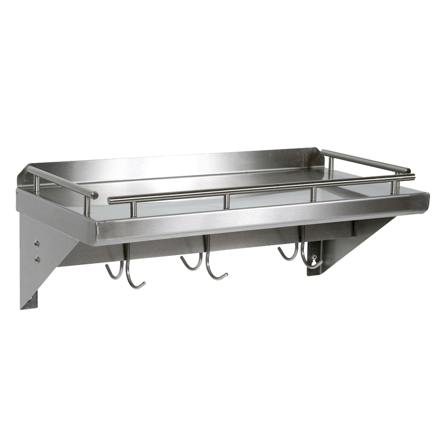 John Boos GRWS24-UB overshelf, wall-mounted with pot rack