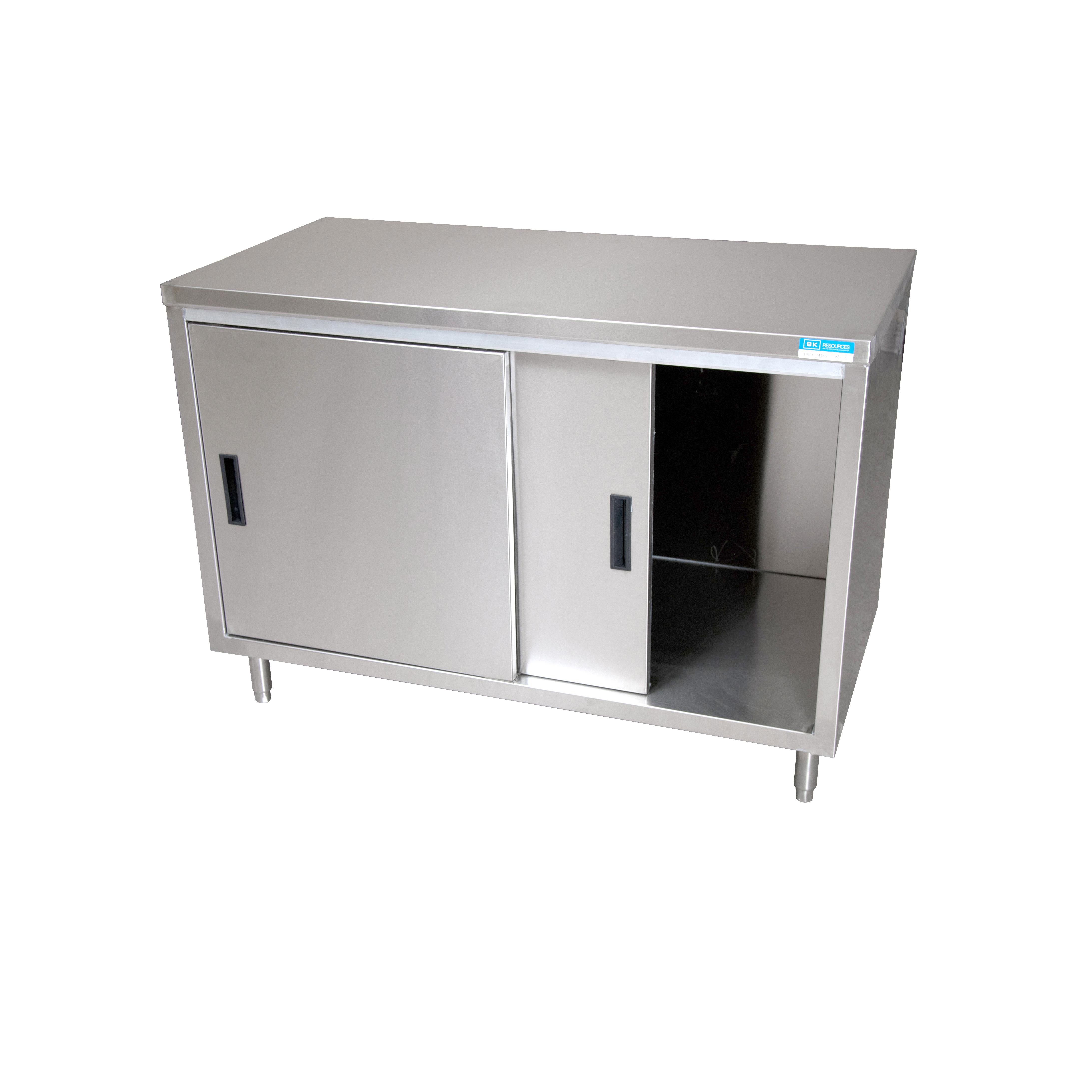 BK Resources BKDC-2460S work table, cabinet base sliding doors
