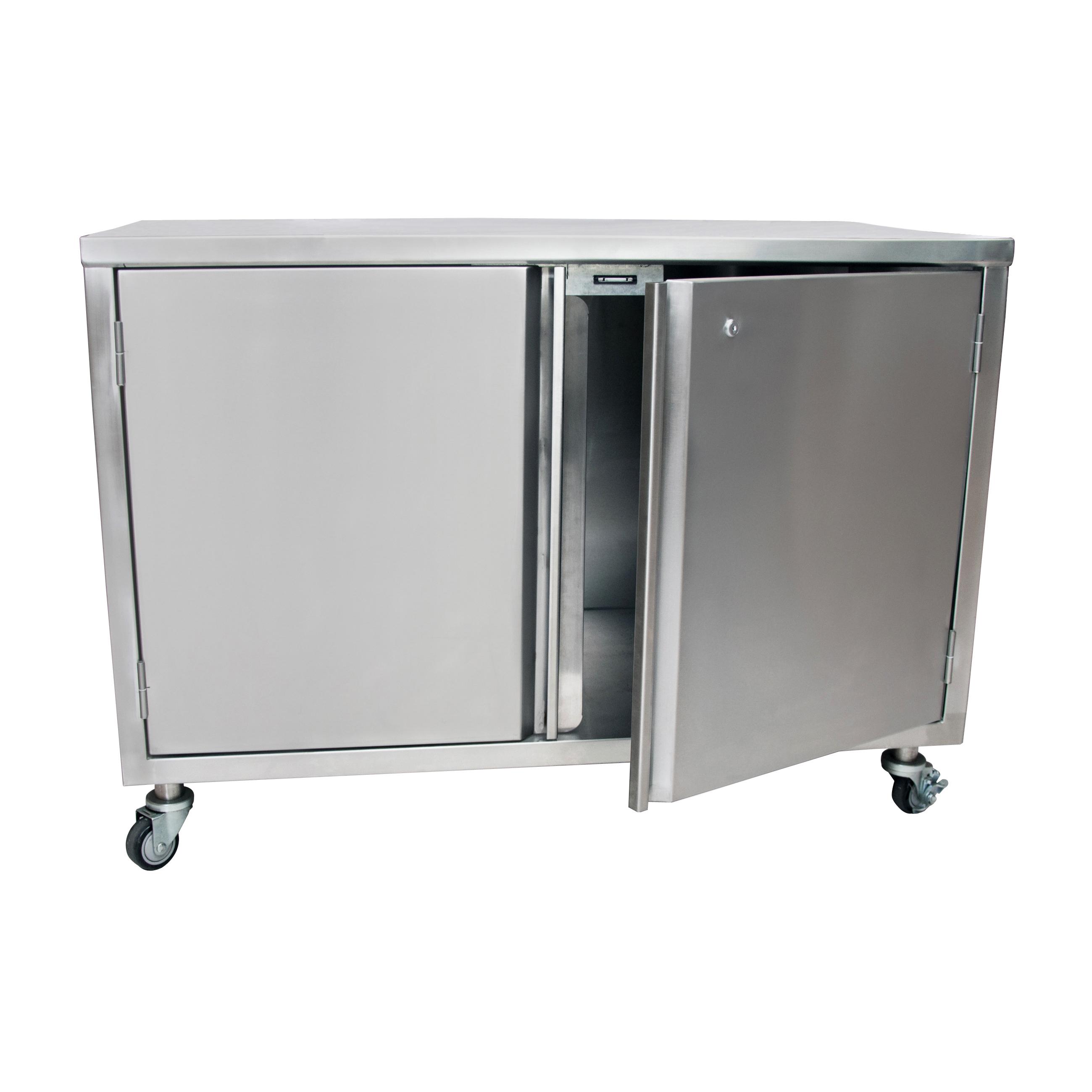 BK Resources BKDC-3096HL work table, cabinet base hinged doors