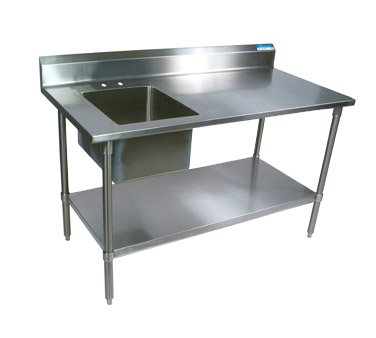 BK Resources BKPT-3072S-R-P-G work table, with prep sink(s)