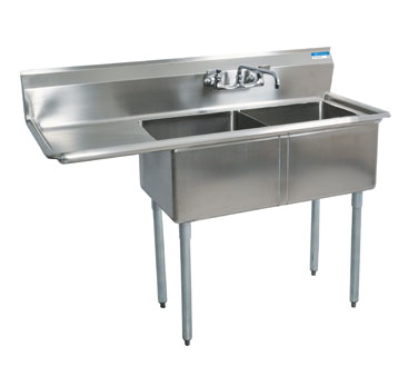 BK Resources BKS-2-18-12-18L sink, (2) two compartment