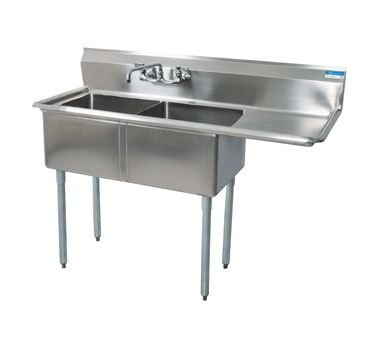 BK Resources BKS-2-24-14-24R sink, (2) two compartment