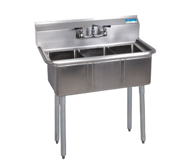 BKS-3-1014-10 BK Resources  sink, (3) three compartment