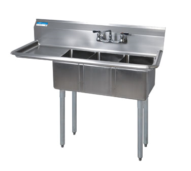 BK Resources BKS-3-1014-10-15L sink, (3) three compartment