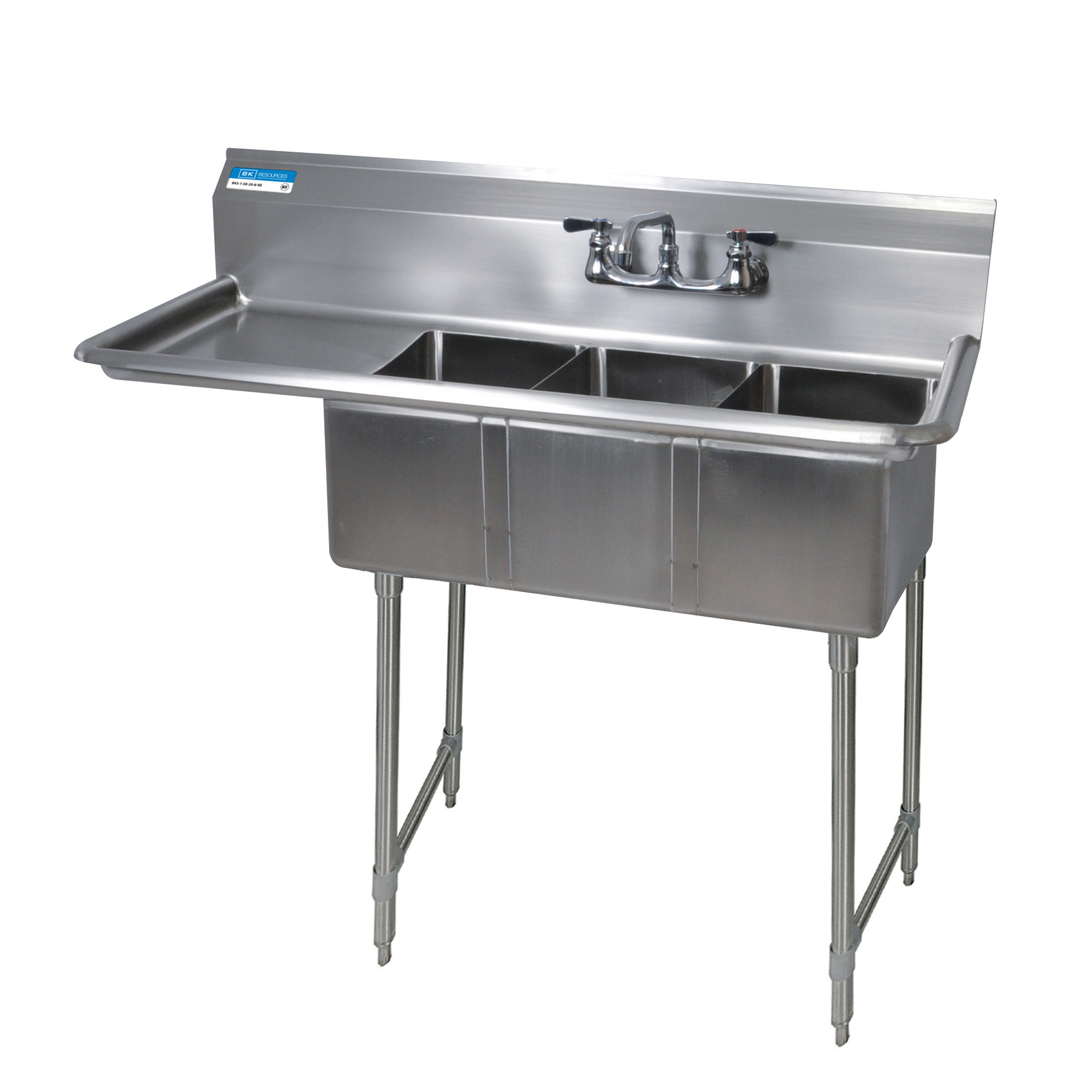 BK Resources BKS-3-1014-10-15LS sink, (3) three compartment