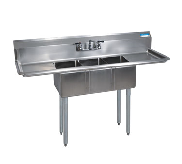 BK Resources BKS-3-1220-12-12T sink, (3) three compartment
