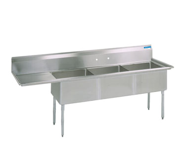BK Resources BKS-3-15-14-15L sink, (3) three compartment