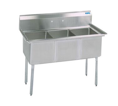 BK Resources BKS-3-15-14S sink, (3) three compartment
