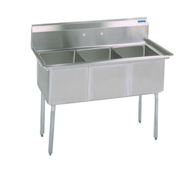 BK Resources BKS-3-1620-12S sink, (3) three compartment