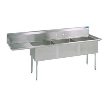 BK Resources BKS-3-18-12-18LS sink, (3) three compartment