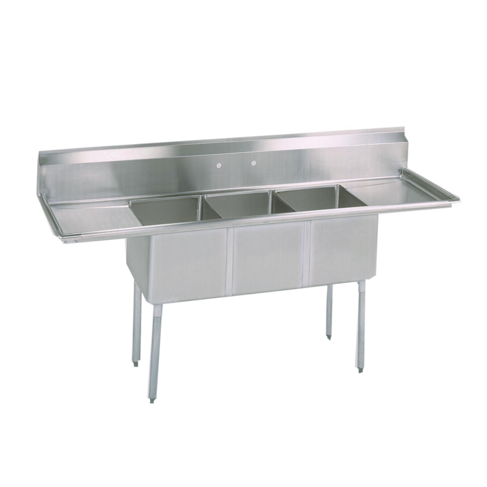 BK Resources BKS-3-18-12-18T sink, (3) three compartment