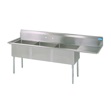 BK Resources BKS-3-1824-14-24R sink, (3) three compartment