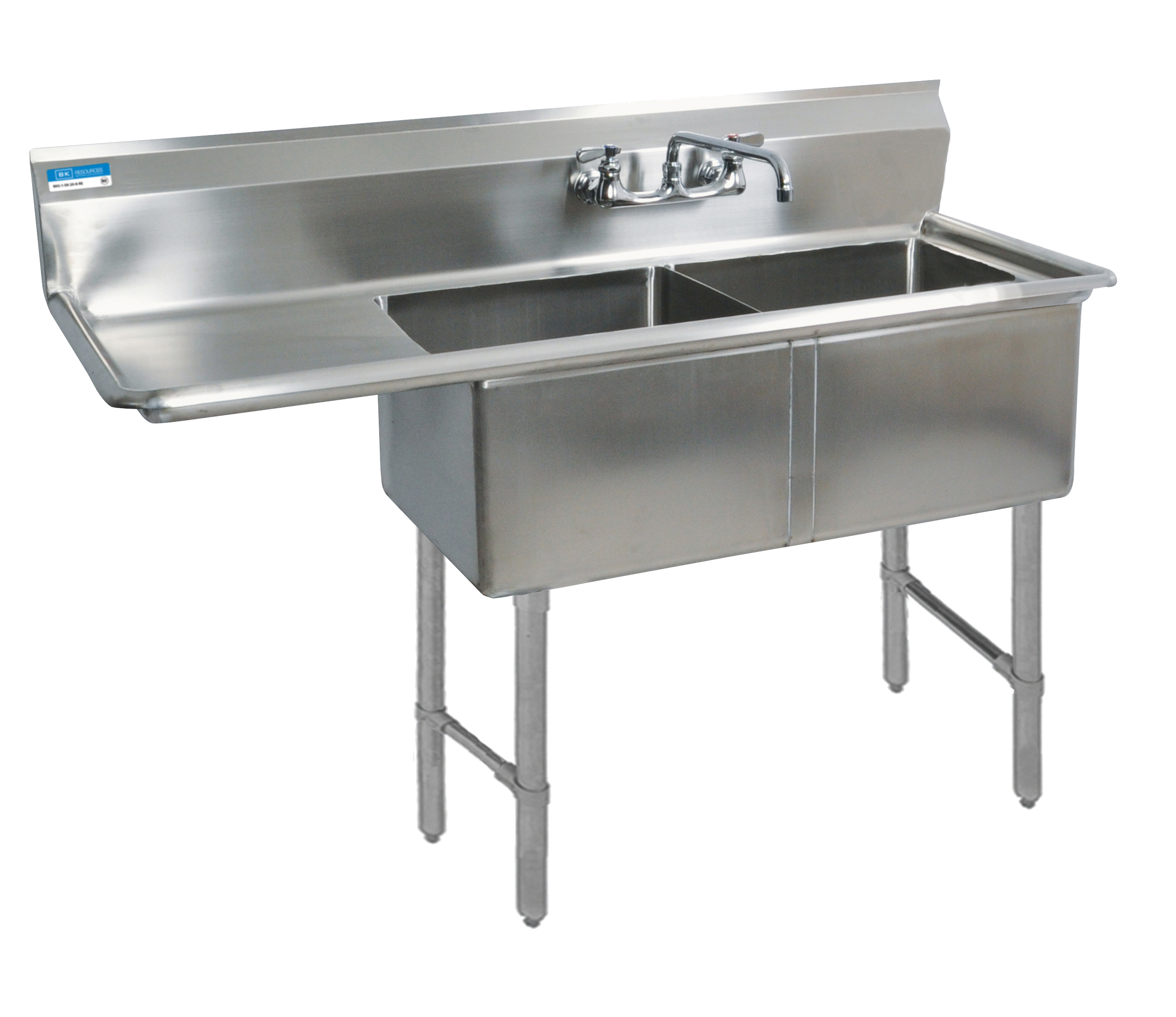 BK Resources BKS6-2-1620-14-18LS sink, (2) two compartment