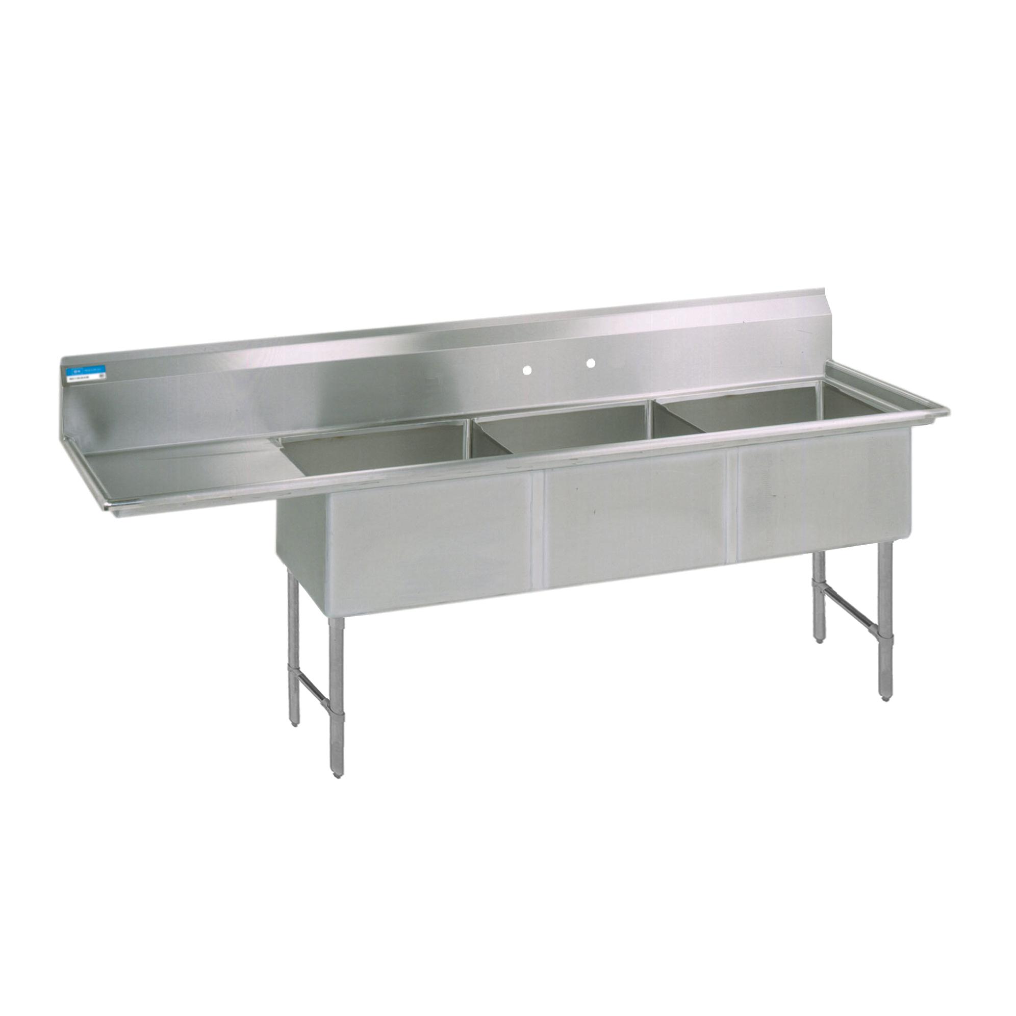 BK Resources BKS6-3-18-14-18LS sink, (3) three compartment