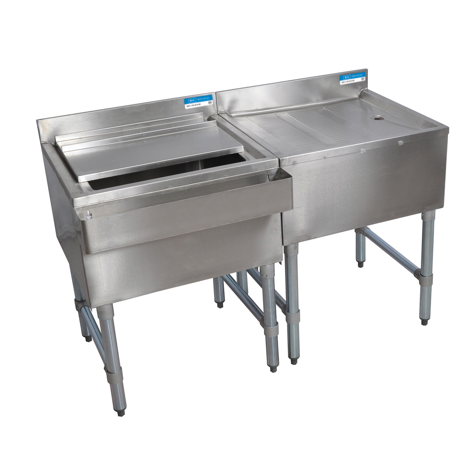 BK Resources BKUB-WS-IBDB-72S underbar ice bin/cocktail station, drainboard