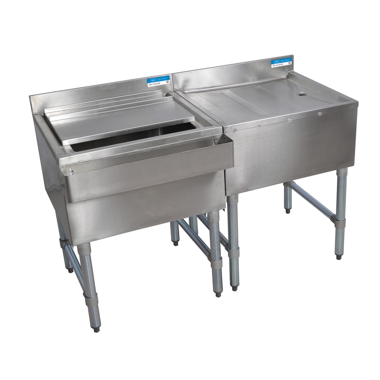 BK Resources BKUB-WS-IBDB-96S underbar ice bin/cocktail station, drainboard