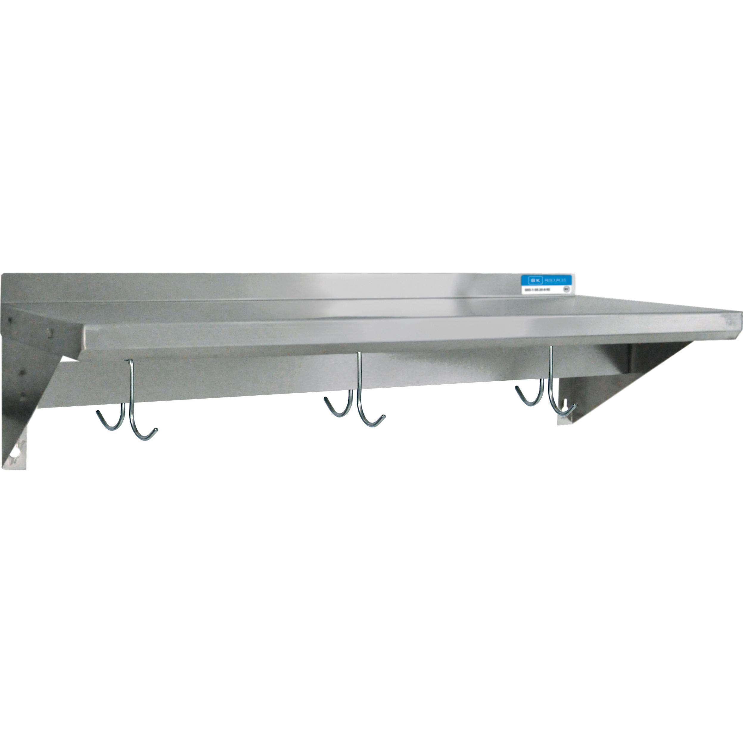 BK Resources BKWS-1624-PR overshelf, wall-mounted with pot rack