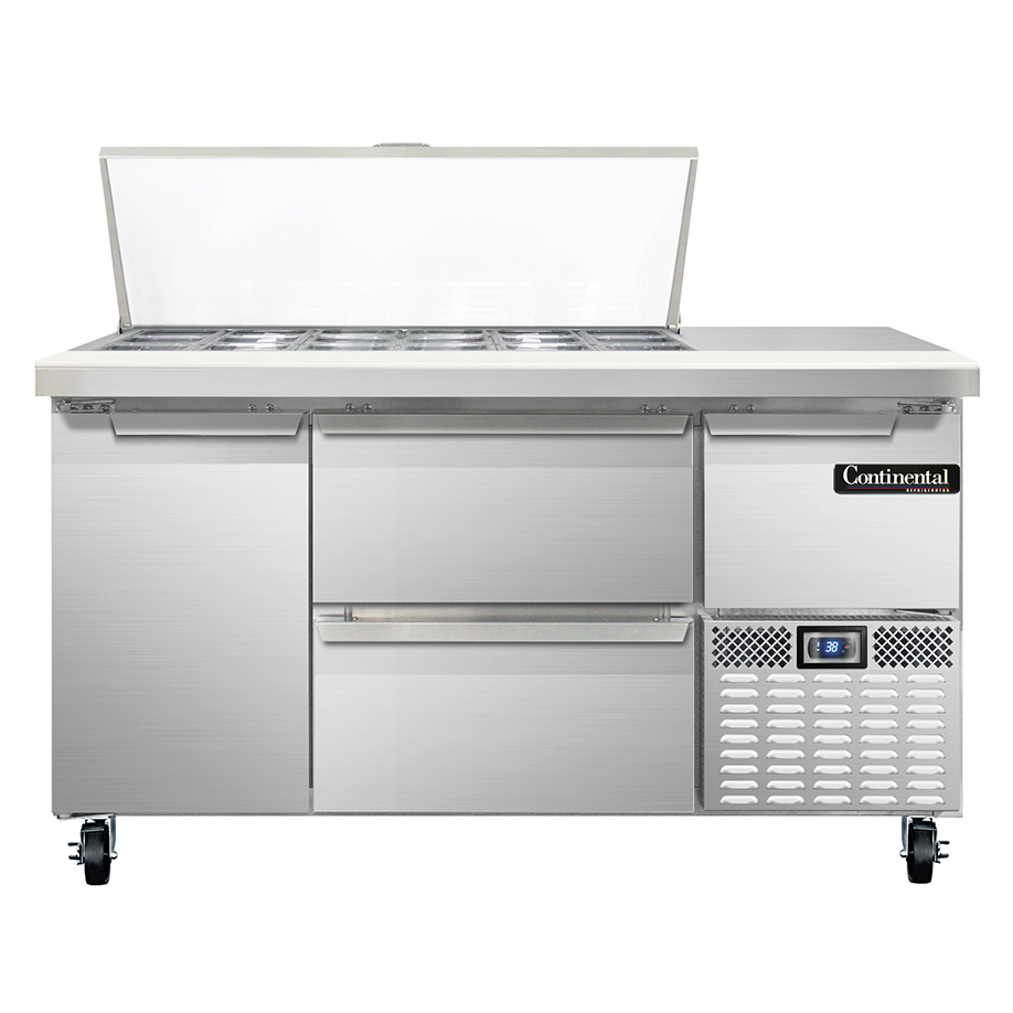 Continental Refrigerator CRA60-18M-D refrigerated counter, mega top sandwich / salad unit