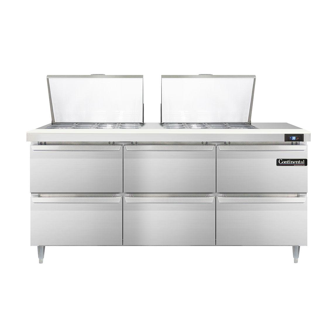 Continental Refrigerator DL72-24M-D refrigerated counter, mega top sandwich / salad unit