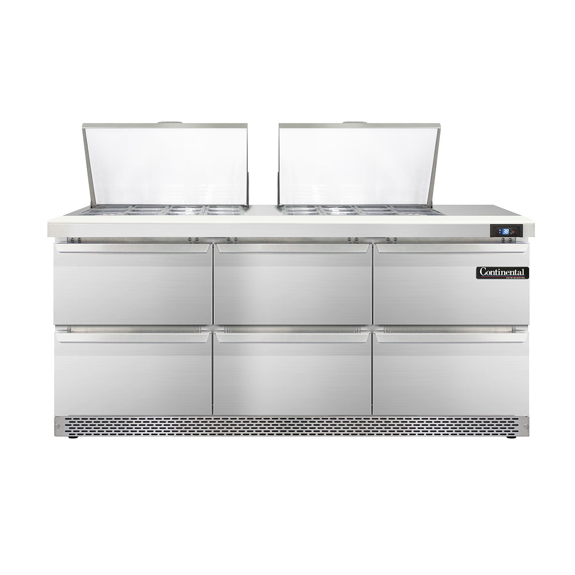 Continental Refrigerator DL72-24M-FB-D refrigerated counter, mega top sandwich / salad unit