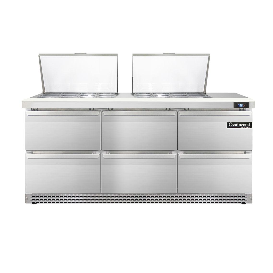 Continental Refrigerator SW72-24M-FB-D refrigerated counter, mega top sandwich / salad unit
