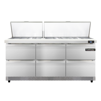 Continental Refrigerator SW72N30M-FB-D refrigerated counter, mega top sandwich / salad unit