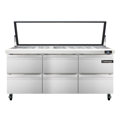 Continental Refrigerator SW72N30M-HGL-D refrigerated counter, mega top sandwich / salad unit