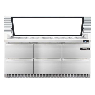 Continental Refrigerator SW72N30M-HGL-FB-D refrigerated counter, mega top sandwich / salad unit