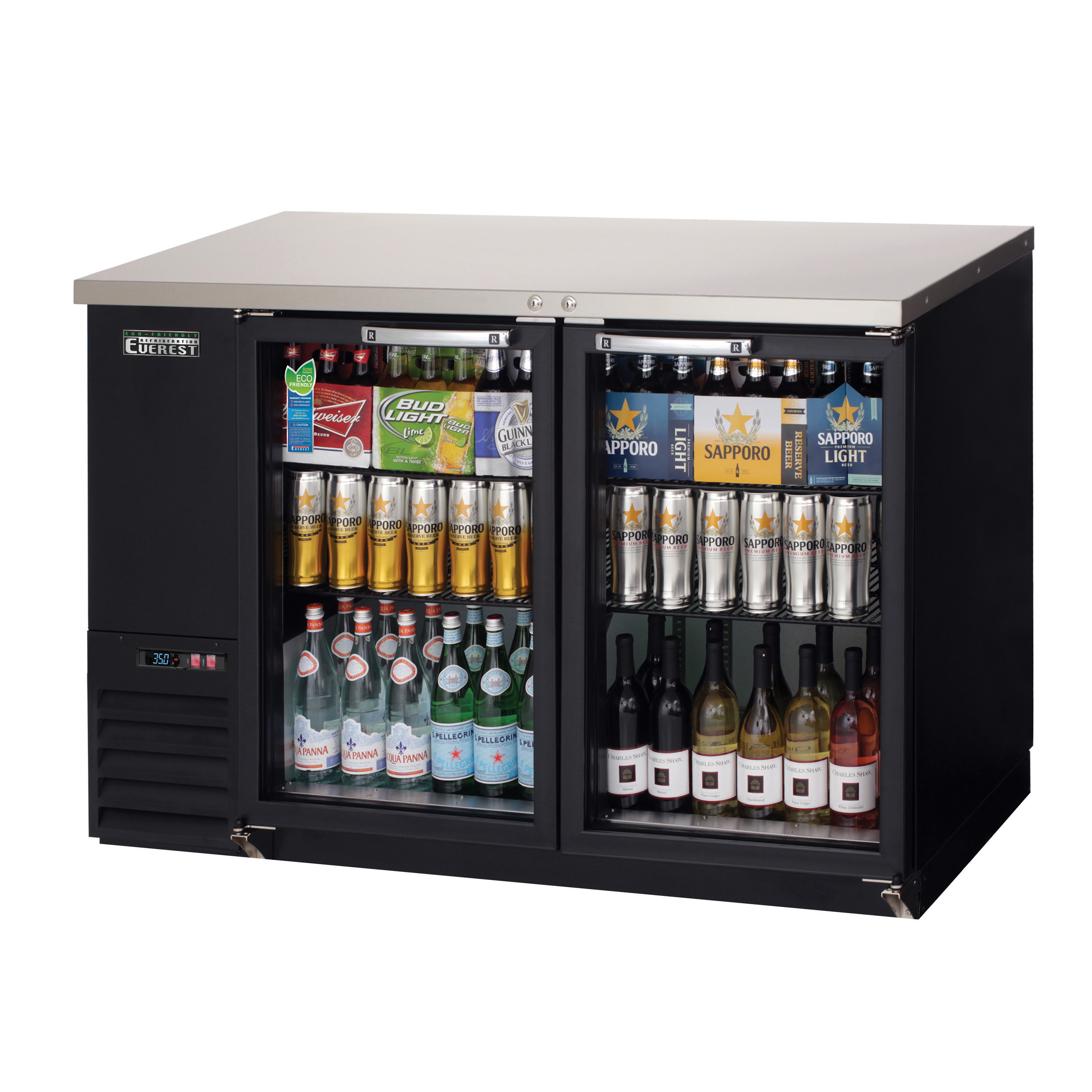 EBB48G Everest Refrigeration back bar cabinet, refrigerated