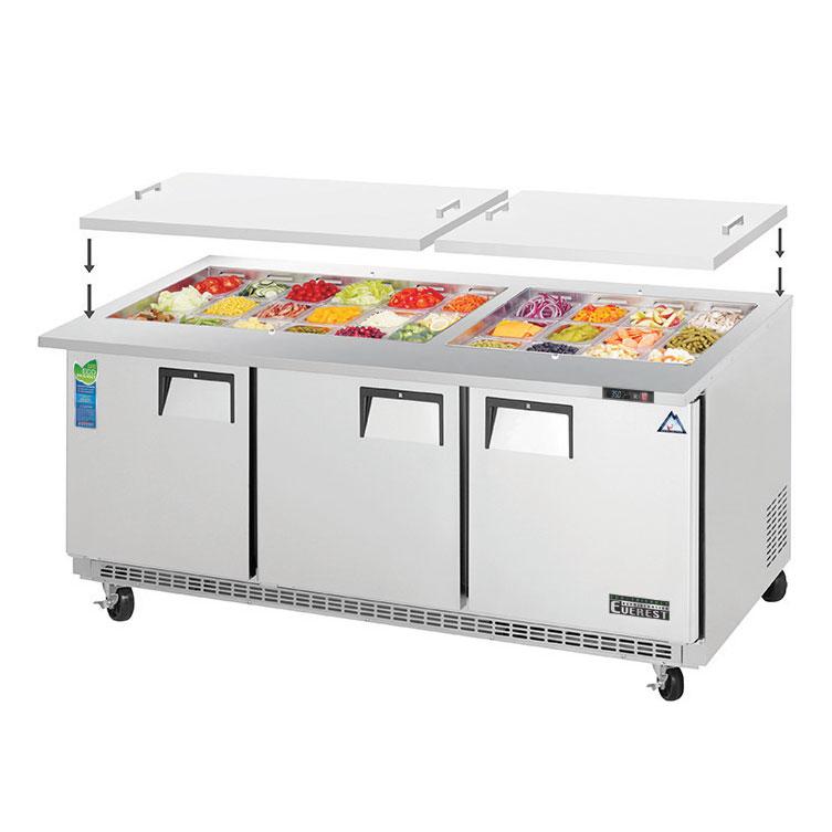 Everest Refrigeration EOTP3 refrigerated counter, mega top sandwich / salad unit