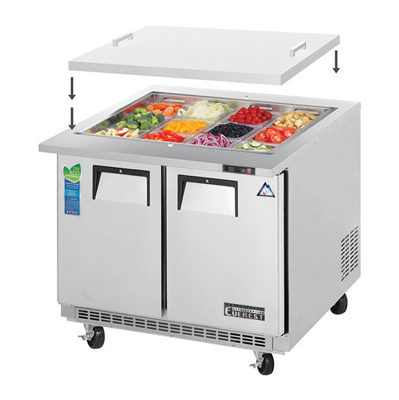 Everest Refrigeration EOTPS2 refrigerated counter, mega top sandwich / salad unit