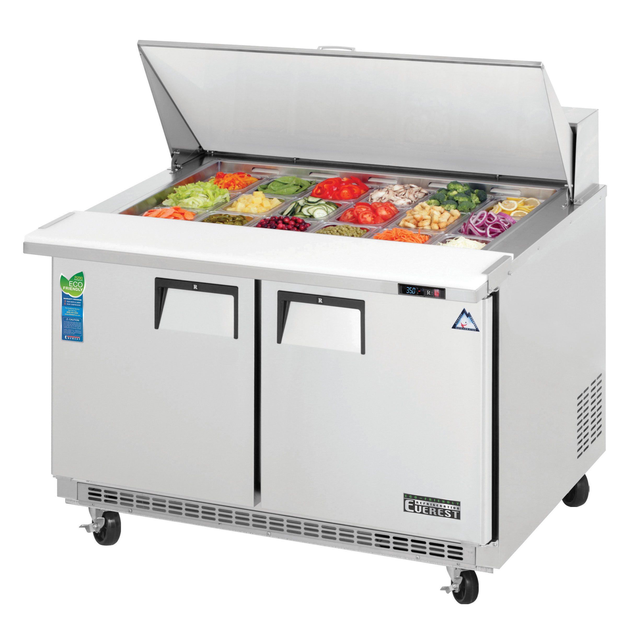 Everest Refrigeration EPBR2 refrigerated counter, mega top sandwich / salad unit