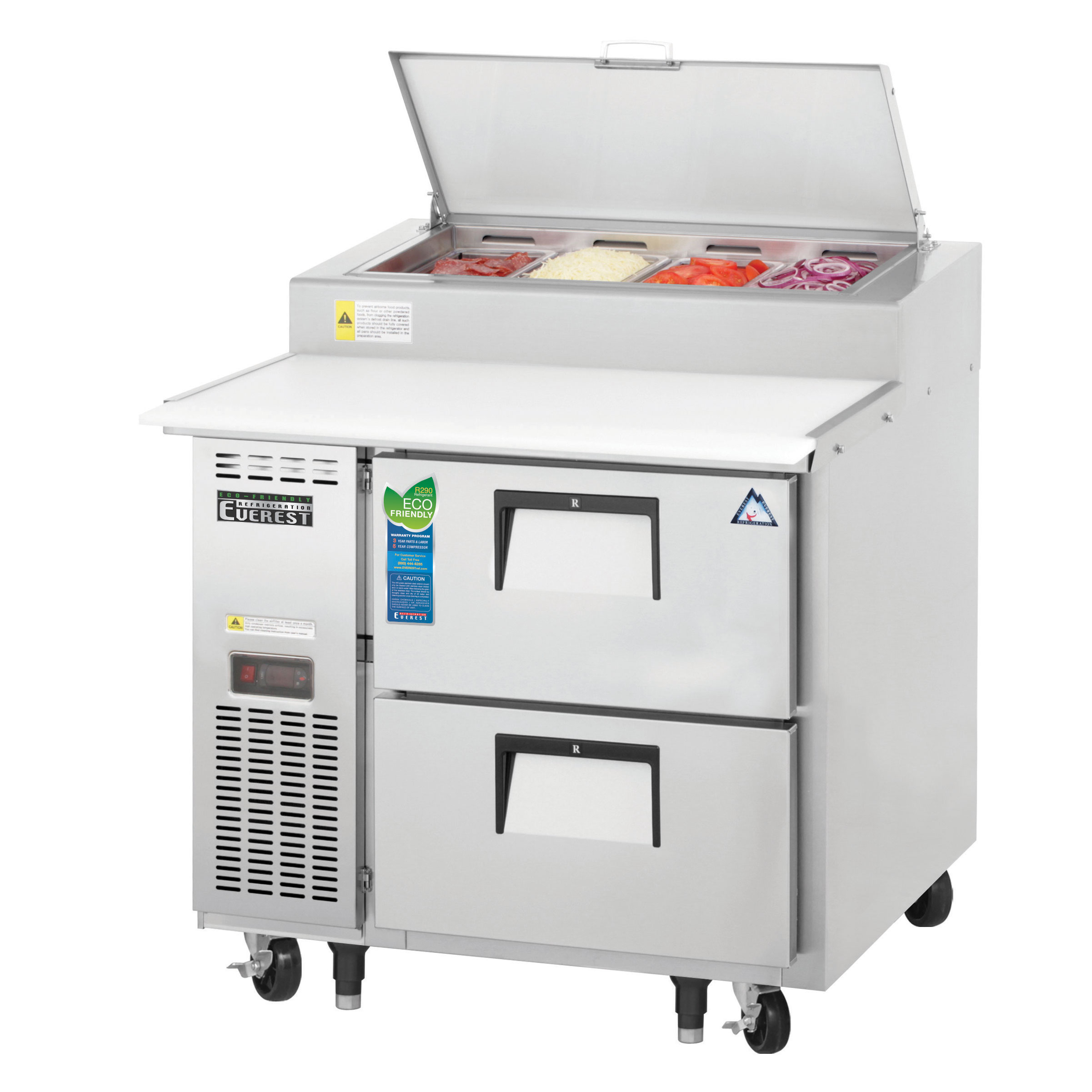 Everest Refrigeration EPPR1-D2 refrigerated counter, pizza prep table