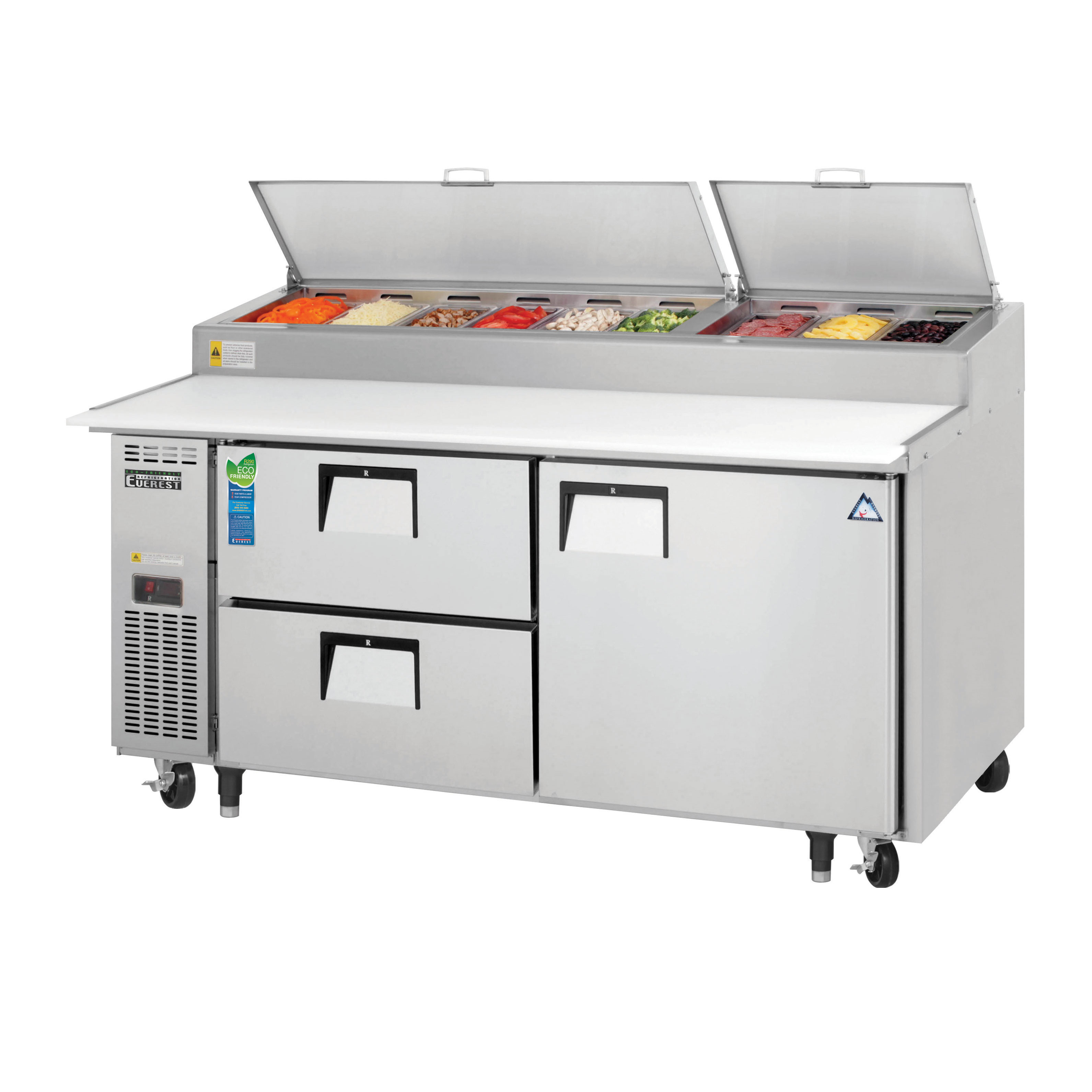 Everest Refrigeration EPPR2-D2 refrigerated counter, pizza prep table