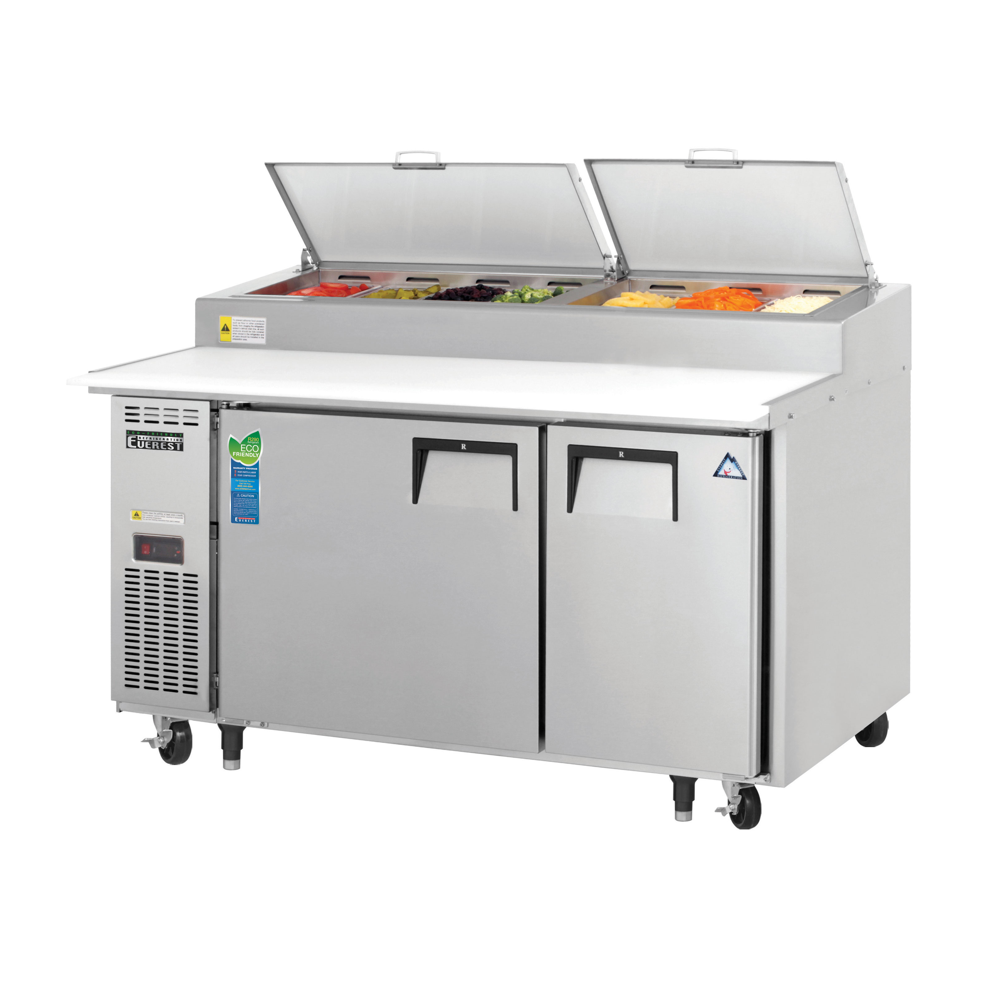 Everest Refrigeration EPPSR2 refrigerated counter, pizza prep table