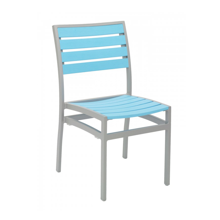 Florida Seating AL-5602-0 SILVER/ BLUE chair, side, stacking, outdoor
