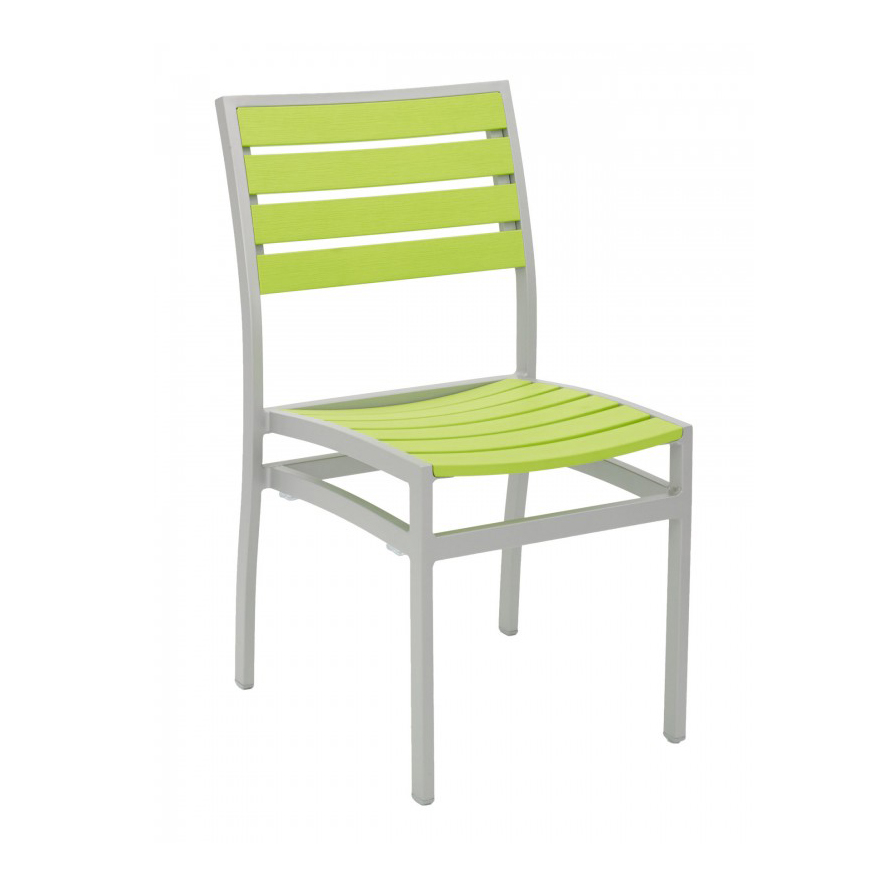 Florida Seating AL-5602-0 SILVER/ GREEN chair, side, stacking, outdoor