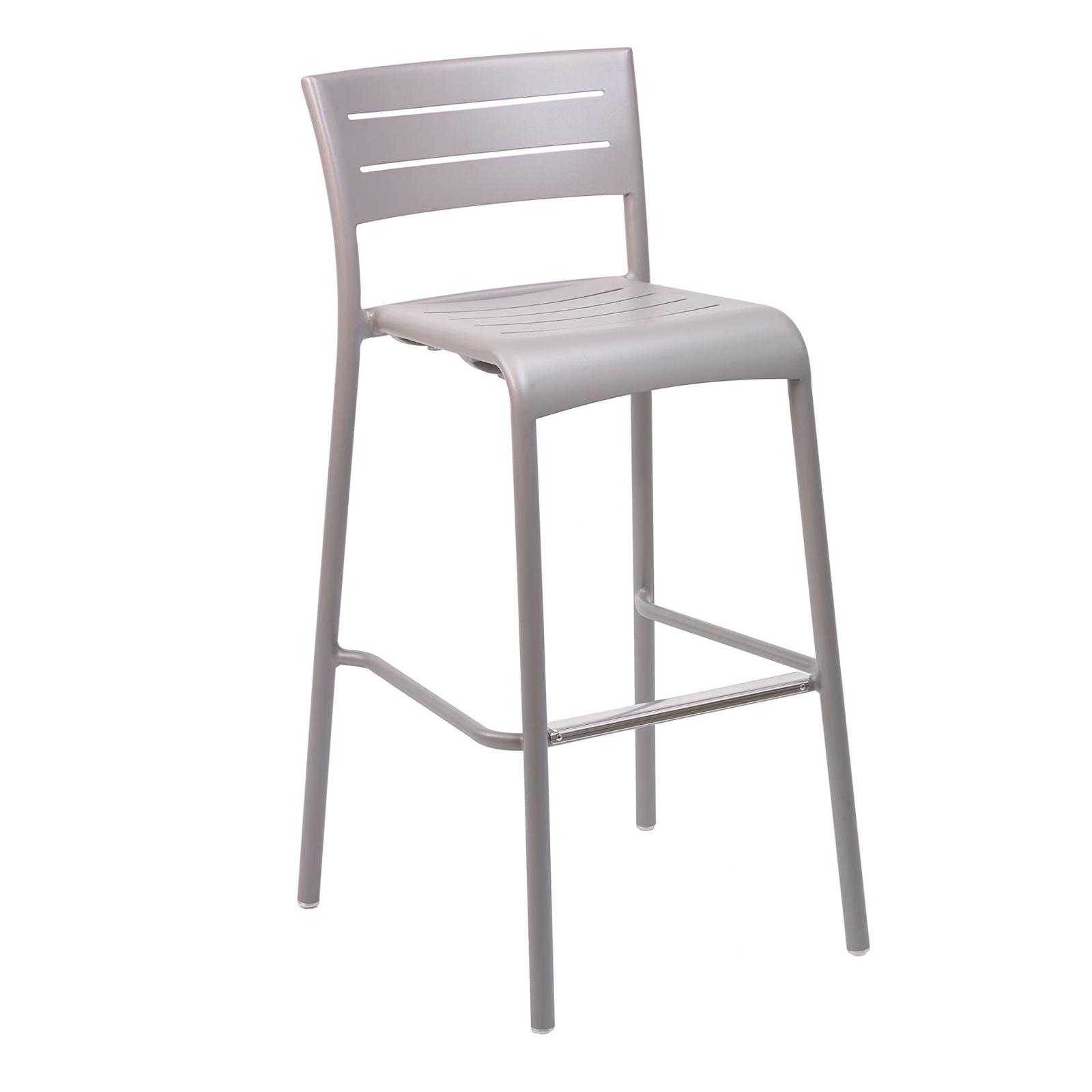 Florida Seating BAL-5000 S WARM GRAY/SILVER bar stool, stacking, outdoor