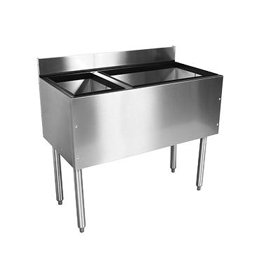 Glastender C-CBA-48R-CP10 underbar ice bin/cocktail station, bottle well bin