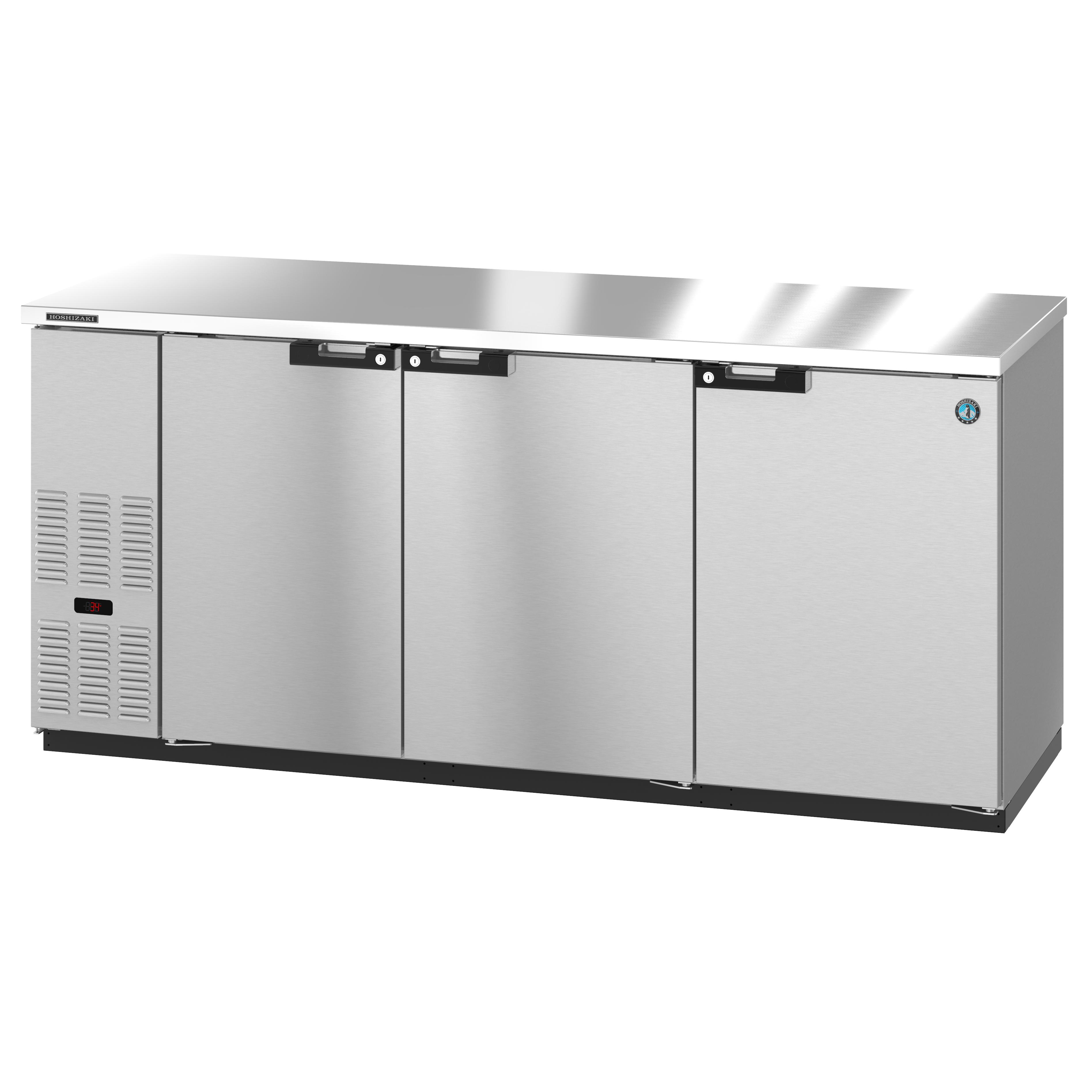 Hoshizaki BB80-S bar refrigerator, 3 swinging solid doors